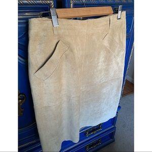 Isaac Mizrahi for Target Tan Suede Leather Skirt